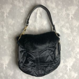 Coach rabbit fur puffer black hobo shoulder bag
